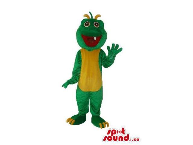 Green Monster Plush Canadian SpotSound Mascot With A Yellow Belly And Large Mouth