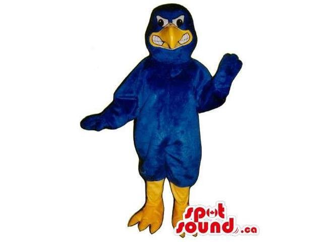 Customised Blue Bird Character Canadian SpotSound Mascot With An Angry Face