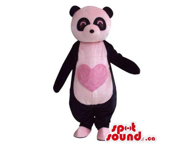 Customised Cute Panda Bear Plush Canadian SpotSound Mascot With A Pink Heart