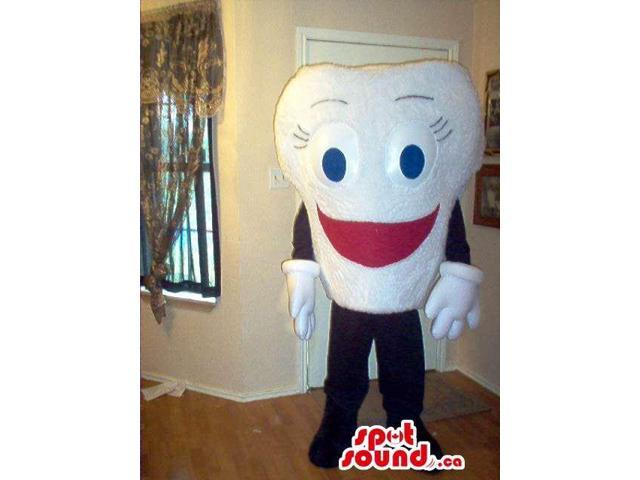 Customised White Tooth Peculiar Canadian SpotSound Mascot With Red Smile