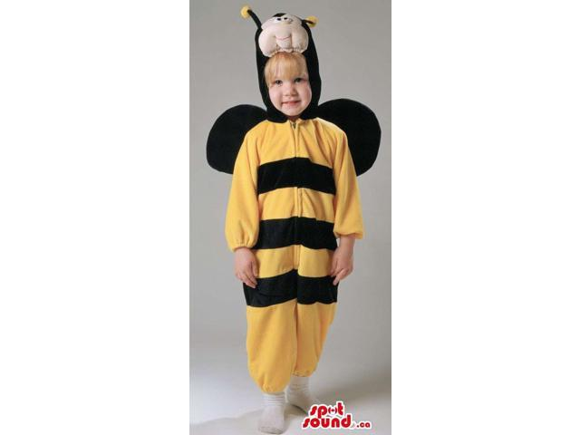 Cute Bee Children Size Plush Costume With Black Wings