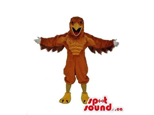 Customised Strong Eagle Bird Canadian SpotSound Mascot In Brown And Yellow
