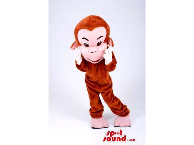 Customised All Brown And Pink Monkey Animal Canadian SpotSound Mascot