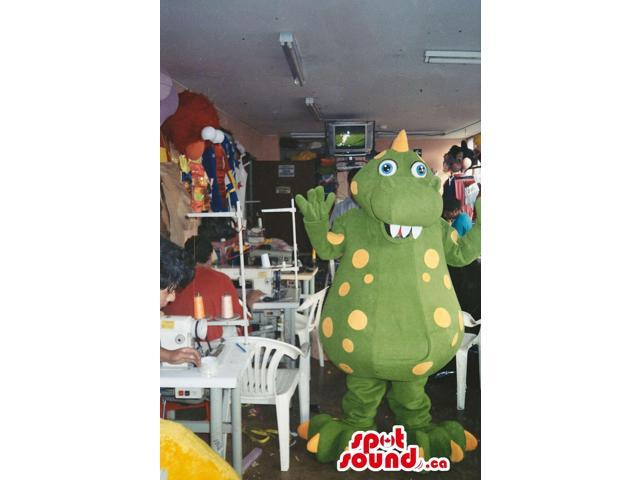 Green Fairy-Tale Dragon Plush Canadian SpotSound Mascot With Yellow Dots And Large Belly