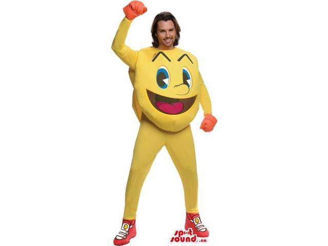 Cool Yellow Pac Man Ghost Video Game Character Adult Size Costume