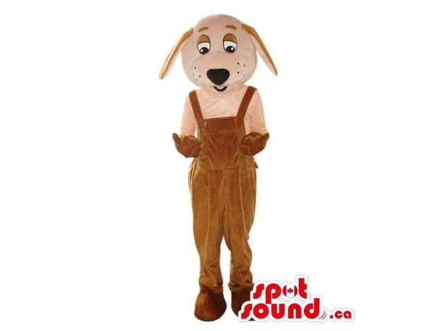 Cute White Dog Plush Canadian SpotSound Mascot Dressed In Brown Overalls