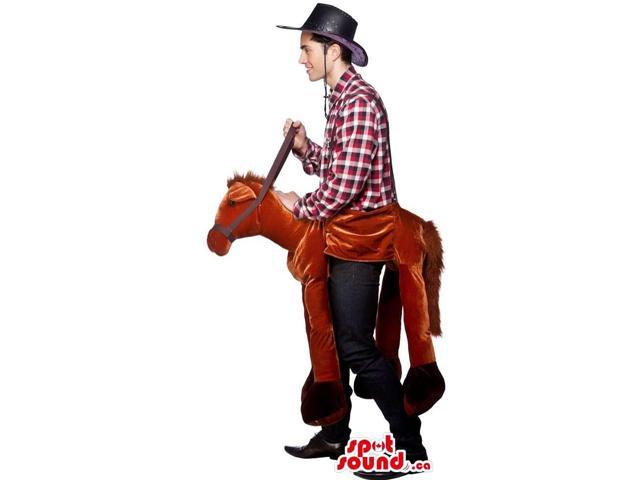 Horse-Rider Adult Size Costume With A Plush Horse