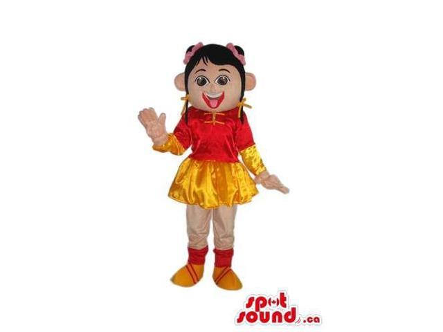 Oriental Girl Character Canadian SpotSound Mascot Dressed In Shinny Clothes
