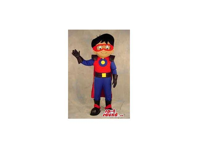 Superhero Boy Plush Canadian SpotSound Mascot Dressed In Blue And Red Clothes
