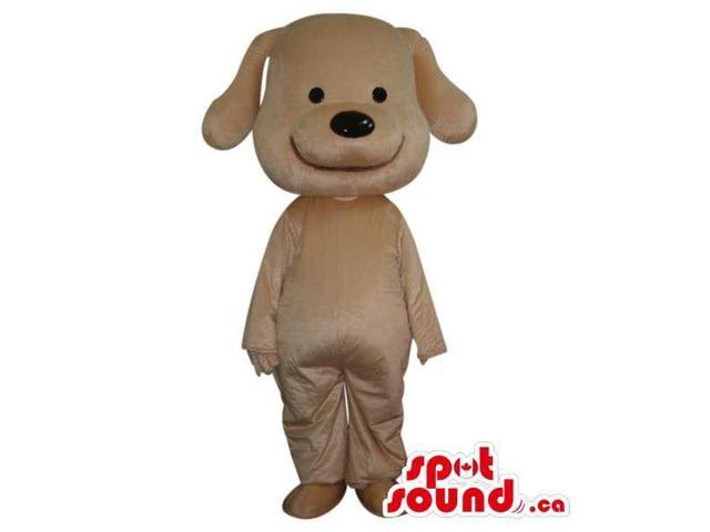Cute Cartoon White Dog Plush Canadian SpotSound Mascot With A Large Smile