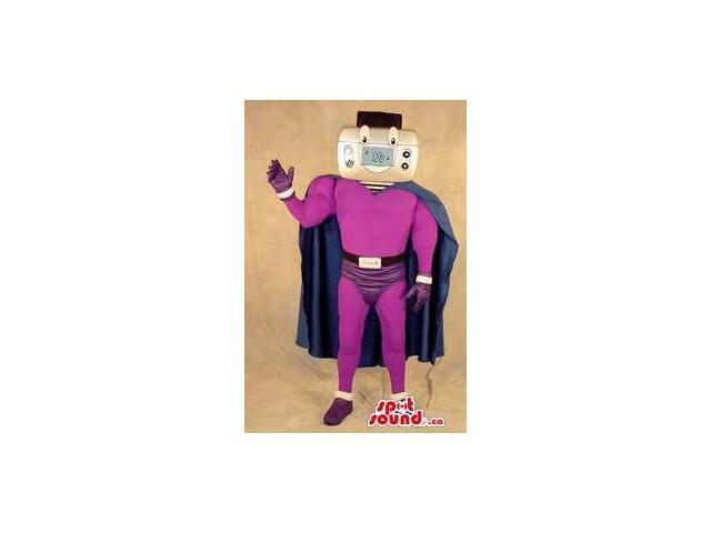 Superhero Thermostat Face Plush Canadian SpotSound Mascot Dressed In Purple Clothes