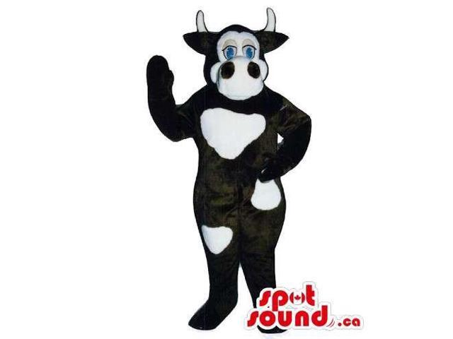 Customised Cow Canadian SpotSound Mascot In Black With White Spots And Blue Eyes