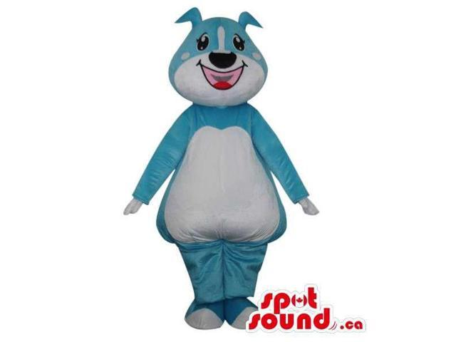 Cute Cartoon Blue Dog Plush Canadian SpotSound Mascot With A Large Smile