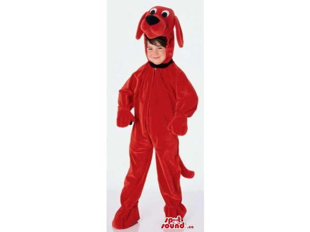 Cute Red Dog Children Size Plush Costume Disguise