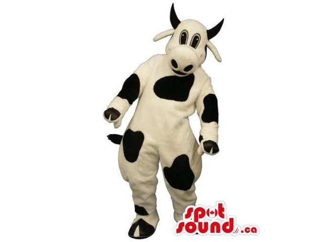 Customised Cow Animal Canadian SpotSound Mascot In White With Black Spots