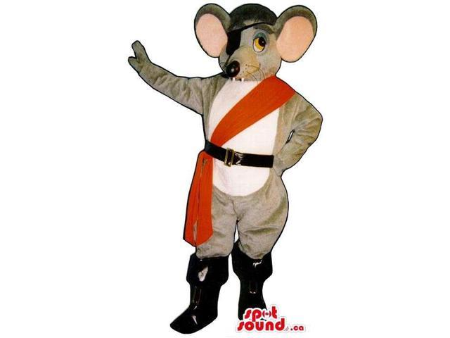 Grey Mouse Animal Plush Canadian SpotSound Mascot Dressed In Pirate Gadgets