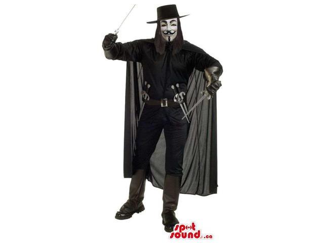 Great Black Vendetta Cartoon Character Adult Size Costume