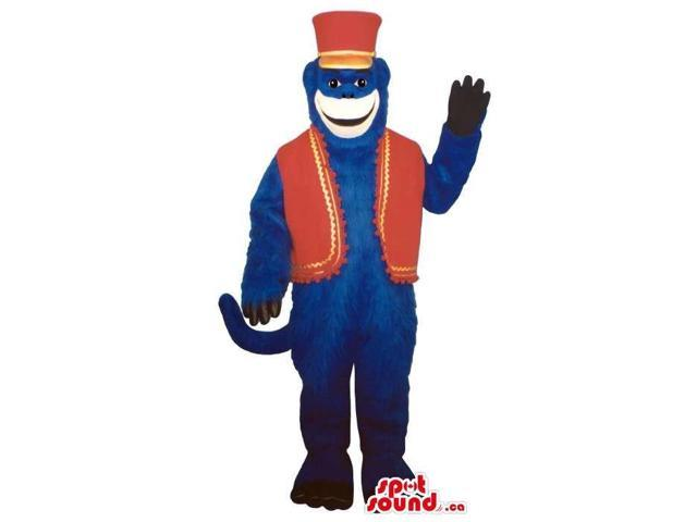 Dark Blue Large Monkey Animal Plush Canadian SpotSound Mascot With Red Circus Clothes