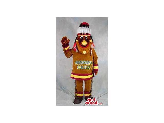 Colourful Cute Native Indian Human Canadian SpotSound Mascot With Feathers
