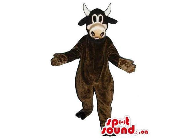 Customised Cow Animal Canadian SpotSound Mascot In Brown Without Spots