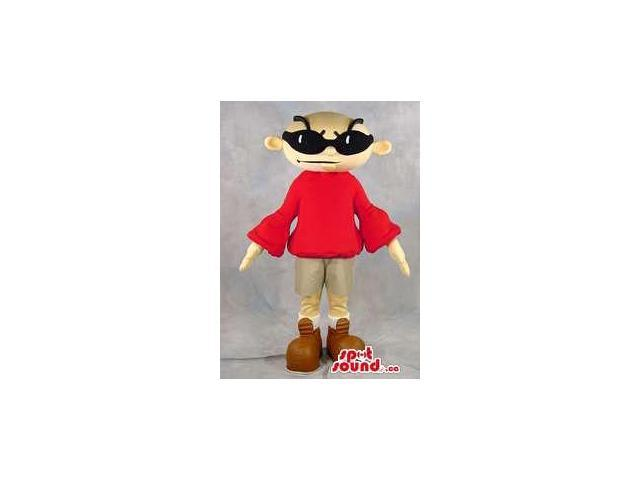 Cool Bold Man Character Plush Canadian SpotSound Mascot Dressed In A Red Customised Top