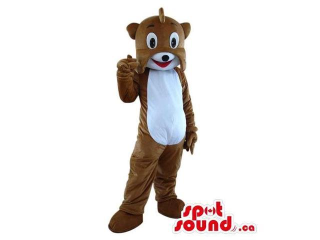 Customised Fairy-Tale Brown And White Teddy Bear Plush Canadian SpotSound Mascot