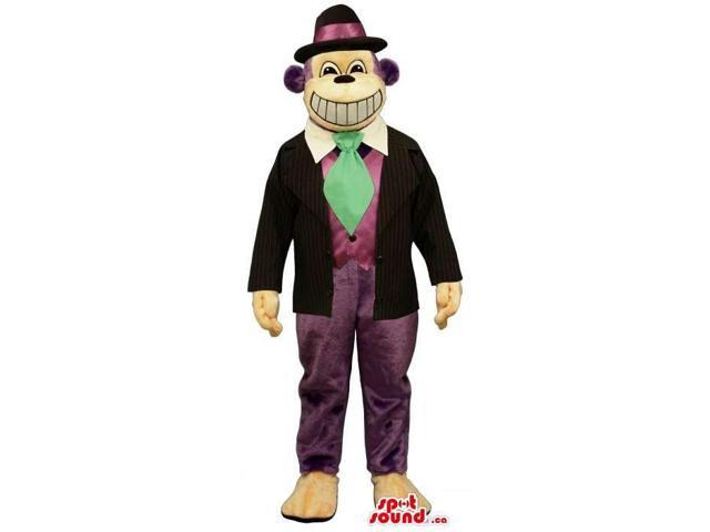 Purple Monkey Animal Plush Canadian SpotSound Mascot Dressed In A Gangster Clothes