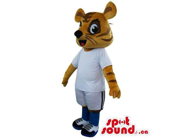 Peculiar Orange Tiger Plush Canadian SpotSound Mascot Dressed In White Soccer Gear