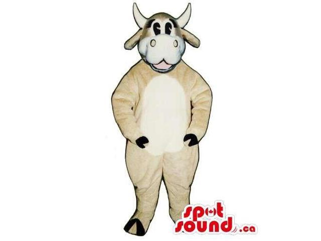 Customised Cow Canadian SpotSound Mascot In Beige With White Belly And Face