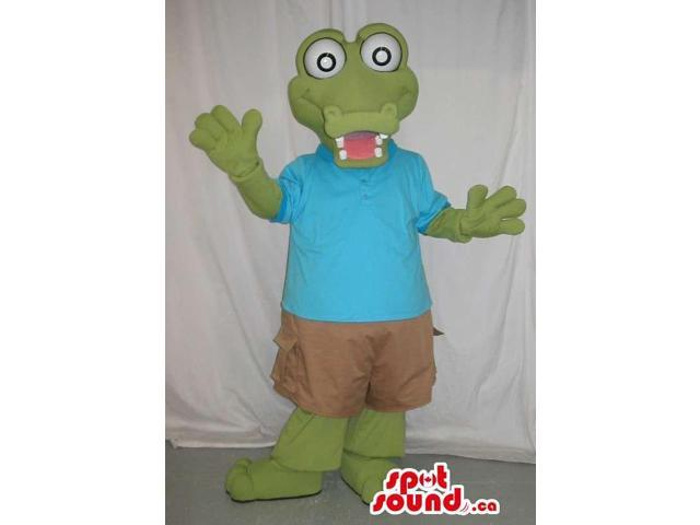 Customised Green Crocodile Canadian SpotSound Mascot In Casual Gear