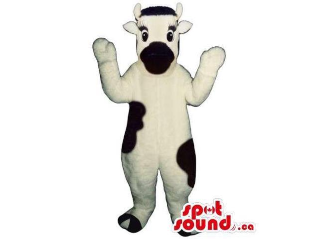 Customised Cow Canadian SpotSound Mascot In White With Black Spots And Mouth