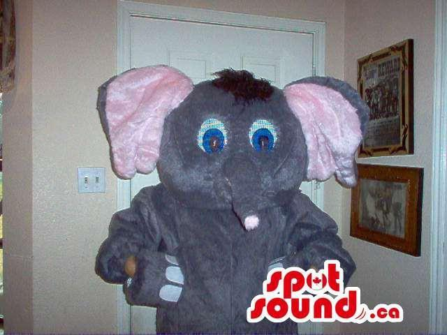 Cute Grey Elephant Plush Canadian SpotSound Mascot With Pink Ears And Blue Eyes