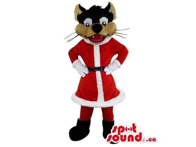Brown Wolf Plush Canadian SpotSound Mascot Dressed In Christmas Santa Claus Gear