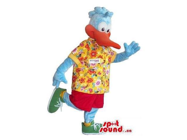 Cute Cartoon Blue Duck Canadian SpotSound Mascot Dressed In A Hawaiian Flowery Shirt