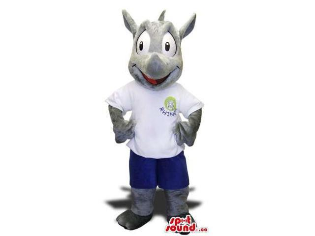 Cute Rhinoceros Animal Plush Canadian SpotSound Mascot Dressed In A White Logo T-Shirt