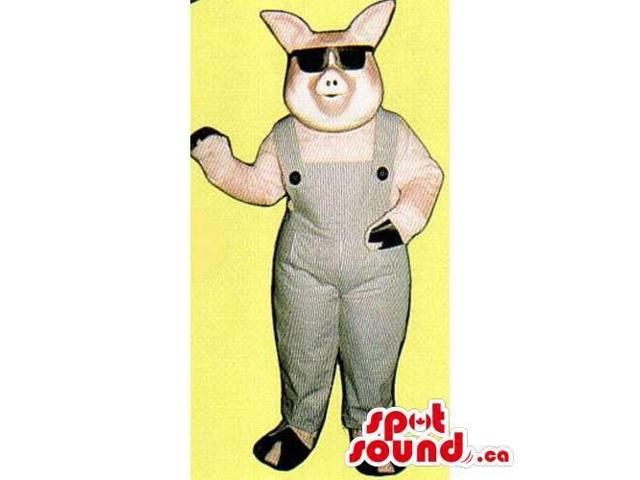Customised All Pig Canadian SpotSound Mascot Dressed In Overalls And Sunglasses
