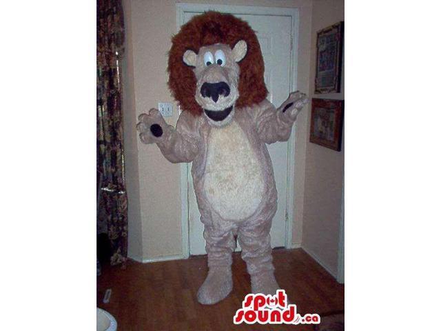Cartoon Cute Beige Lion Animal Plush Canadian SpotSound Mascot With Brown Hair