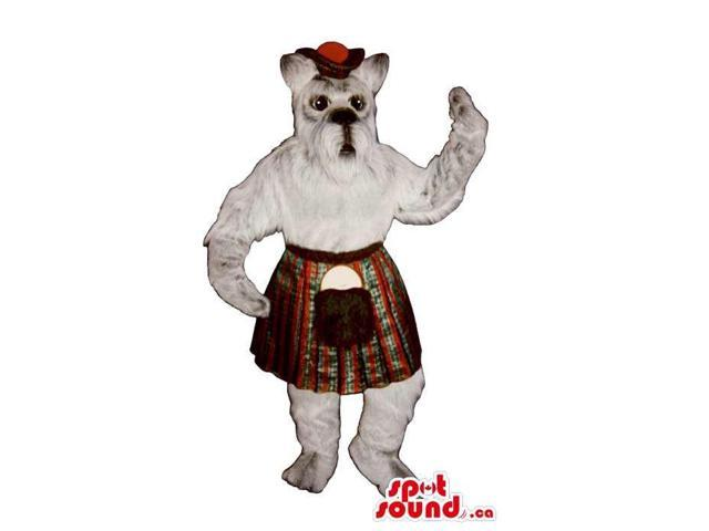 Cute White Dog Plush Canadian SpotSound Mascot Dressed In Scottish Clothes