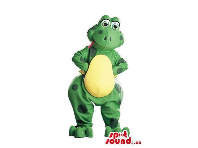 Cute Cartoon Green And Yellow Frog Canadian SpotSound Mascot With Large Dots