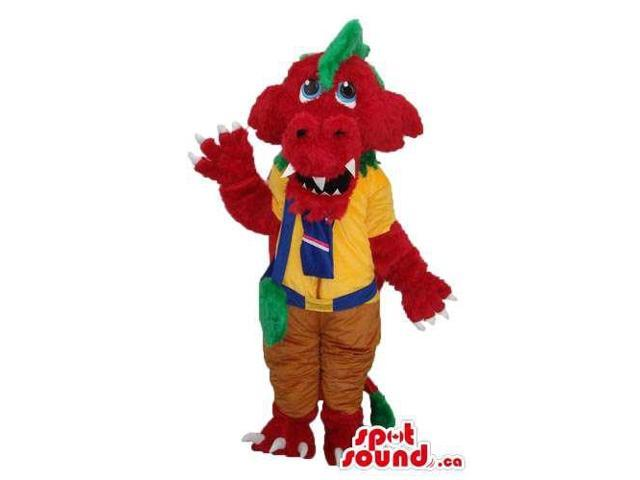 Red Monster Plush Canadian SpotSound Mascot Dressed In Yellow Scout Boy Clothes