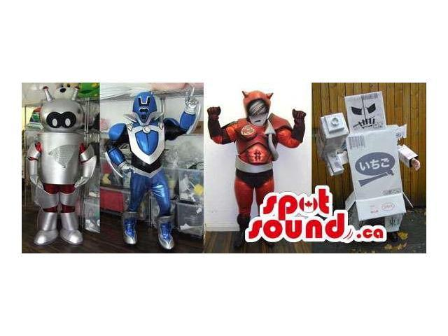 Varied Group Of Shinny Robot Canadian SpotSound Mascots In Various Designs