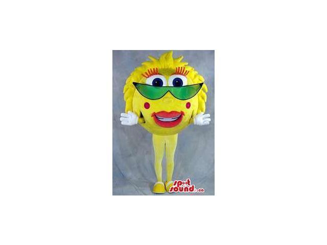 Large Yellow Sun Plush Canadian SpotSound Mascot Dressed In Green Sunglasses