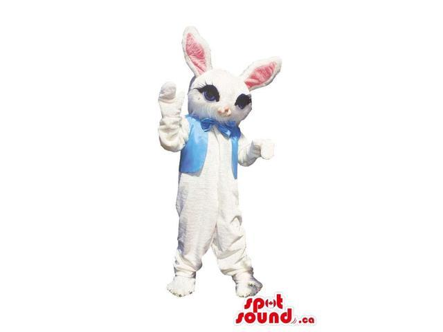Cute White Bunny Rabbit Plush Canadian SpotSound Mascot Dressed In A Blue Vest