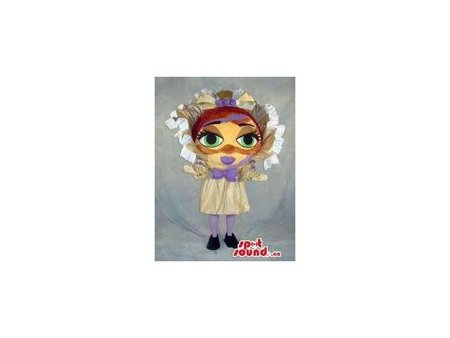Girl With Large Head Plush Canadian SpotSound Mascot Dressed In An Extravagant Dress