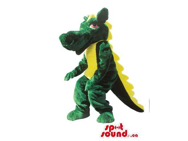 Fairy-Tale Cute Green Dragon Plush Canadian SpotSound Mascot With Yellow Spines