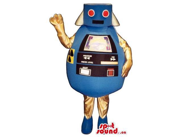 Blue And Golden Round Futuristic Robot Canadian SpotSound Mascot With Red Eyes
