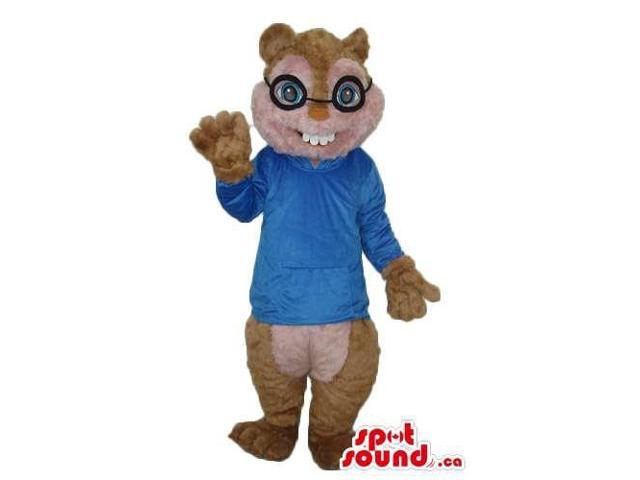 Nerd Brown Chipmunk Plush Canadian SpotSound Mascot With Blue Shirt And Glasses