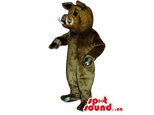 Customised All Brown Boar Animal Canadian SpotSound Mascot With White Fangs
