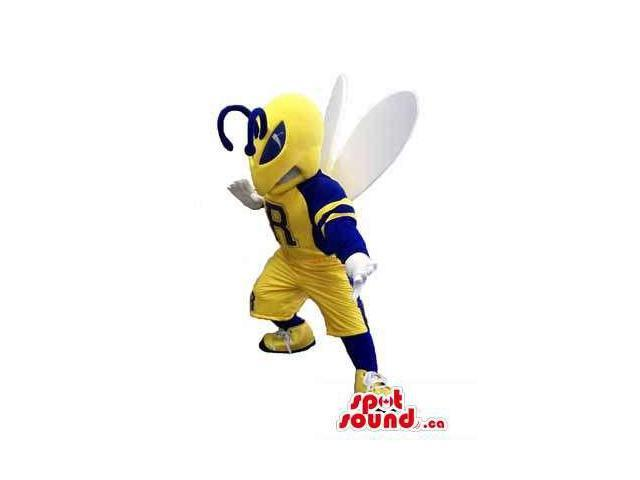 Bee Plush Canadian SpotSound Mascot Dressed In Rugby Or Football Clothes With A Letter