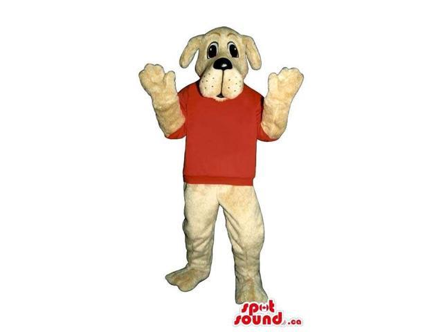 Customised White Dog Plush Canadian SpotSound Mascot Dressed In A Red Customised Top